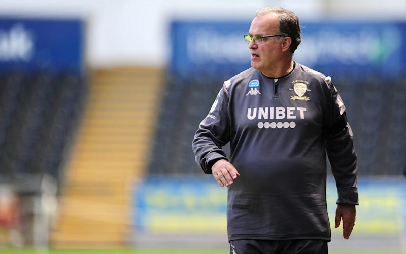 Marcelo Bielsa Manager of Leeds United during the Sky Bet Championship match between Swansea City and Leeds United at the Liberty Stadium on July 12, 2020 in Swansea, Wales. - GETTY IMAGES
