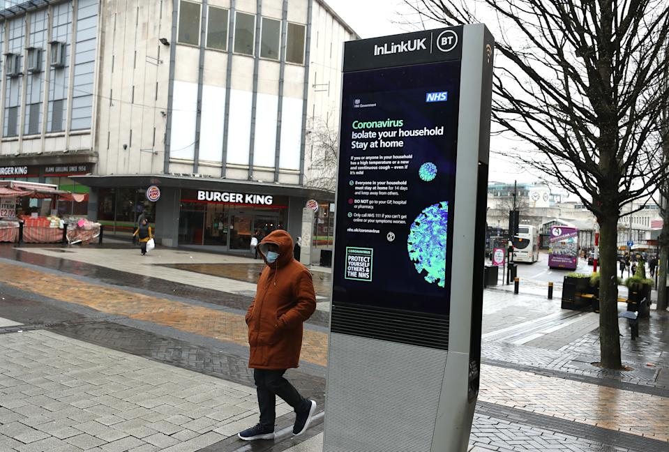 BIRMINGHAM, - MARCH 19:  A sparse number of shoppers in New Street on March 19, 2020 in Birmingham, United Kingdom. (Photo by David Rogers/Getty Images)