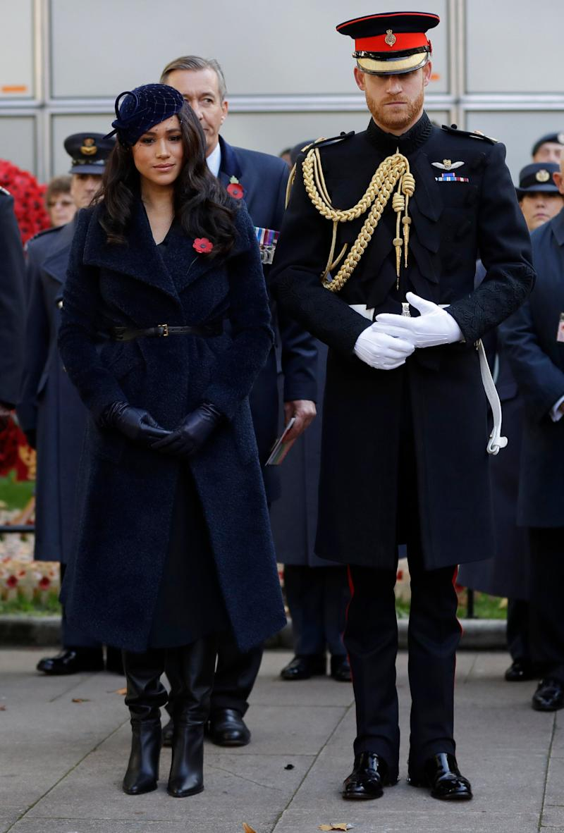 The Duke and Duchess of Sussex attend the 91st Field of Remembrance at Westminster Abbey on Nov. 7 in London. (Photo: WPA Pool via Getty Images)