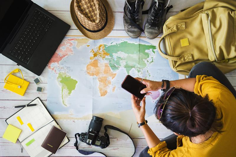 Vacation travel planning concept with map