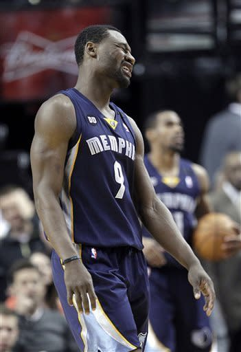 Memphis Grizzlies guard Tony Allen reacts after he is called for a foul during the first quarter of an NBA basketball game against the Portland Trail Blazers in Portland, Ore., Wednesday, April 3, 2013.(AP Photo/Don Ryan)