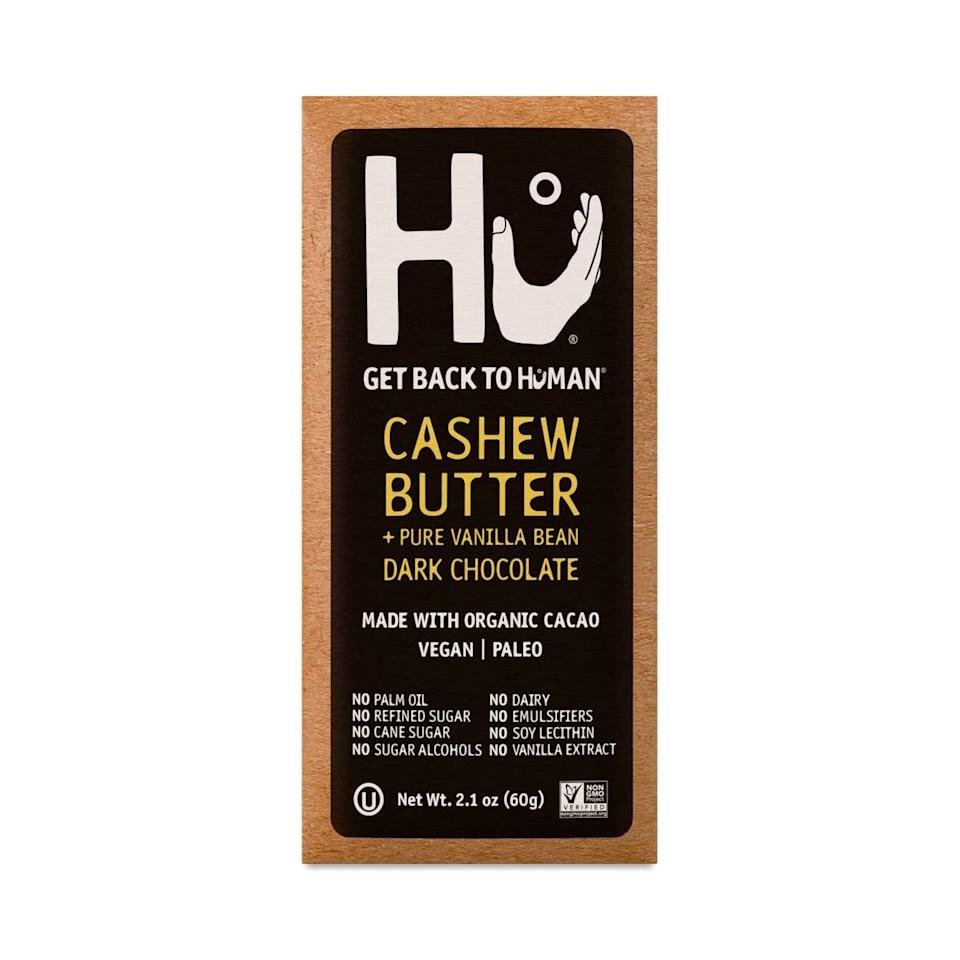 "<p>This <a href=""https://www.popsugar.com/buy/Hu-Cashew-Butter-amp-Pure-Vanilla-Bean-Chocolate-Bar-579509?p_name=Hu%20Cashew%20Butter%20%26amp%3B%20Pure%20Vanilla%20Bean%20Chocolate%20Bar&retailer=thrivemarket.com&pid=579509&price=5&evar1=yum%3Auk&evar9=47527669&evar98=https%3A%2F%2Fwww.popsugar.com%2Ffood%2Fphoto-gallery%2F47527669%2Fimage%2F47527674%2FHu-Cashew-Butter-Pure-Vanilla-Bean-Chocolate-Bar&list1=shopping%2Chealthy%20snacks%2Csnacks%2Cthrive%20market&prop13=api&pdata=1"" rel=""nofollow"" data-shoppable-link=""1"" target=""_blank"" class=""ga-track"" data-ga-category=""Related"" data-ga-label=""https://thrivemarket.com/p/hu-cashew-butter-pure-vanilla-bean-chocolate-bar"" data-ga-action=""In-Line Links"">Hu Cashew Butter &amp; Pure Vanilla Bean Chocolate Bar</a> ($5) is one you'll always want to have in the pantry.</p>"