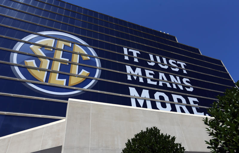 The SEC logo is shown outside of the Hyatt Regency hotel for the NCAA college football Southeastern Conference's annual media gathering, Monday, July 10, 2017, in Hoover, Ala. (AP Photo/Butch Dill)