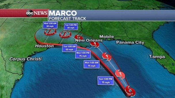 PHOTO: Marco is currently 395 Miles south-southeast of southern Louisiana and the storm has winds of 70 mph while moving north-northwest at 13 mph. (ABC News)