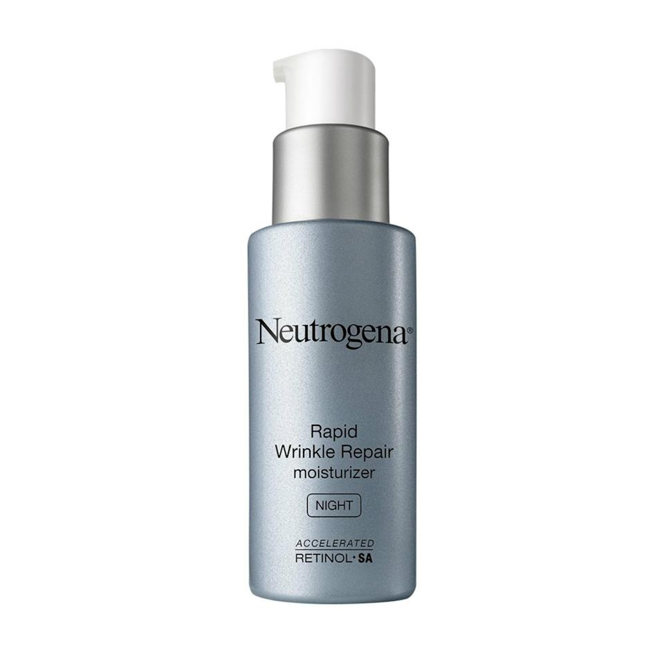 """When it comes to drugstore skin care for mature skin, <a href=""""https://www.allure.com/review/neutrogena-rapid-wrinkle-repair-night-moisturizer?mbid=synd_yahoo_rss"""" rel=""""nofollow noopener"""" target=""""_blank"""" data-ylk=""""slk:Neutrogena's Rapid Wrinkle Repair Moisturizer"""" class=""""link rapid-noclick-resp"""">Neutrogena's Rapid Wrinkle Repair Moisturizer</a> consistently tops best-of lists. Its potent nighttime formula <a href=""""https://www.allure.com/topic/retinol?mbid=synd_yahoo_rss"""" rel=""""nofollow noopener"""" target=""""_blank"""" data-ylk=""""slk:features retinol"""" class=""""link rapid-noclick-resp"""">features retinol</a> and hyaluronic acid to instantly plump skin and minimize visible signs of aging."""