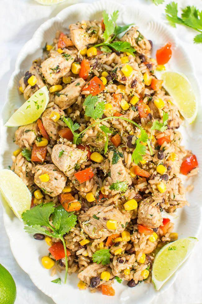 """<strong>Get the<a href=""""https://www.averiecooks.com/lime-cilantro-chicken-with-mixed-rice-and-black-beans/"""" target=""""_blank"""">Lime Cilantro Chicken With Mixed Rice and Black Beans</a> recipe from Averie Cooks</strong>"""