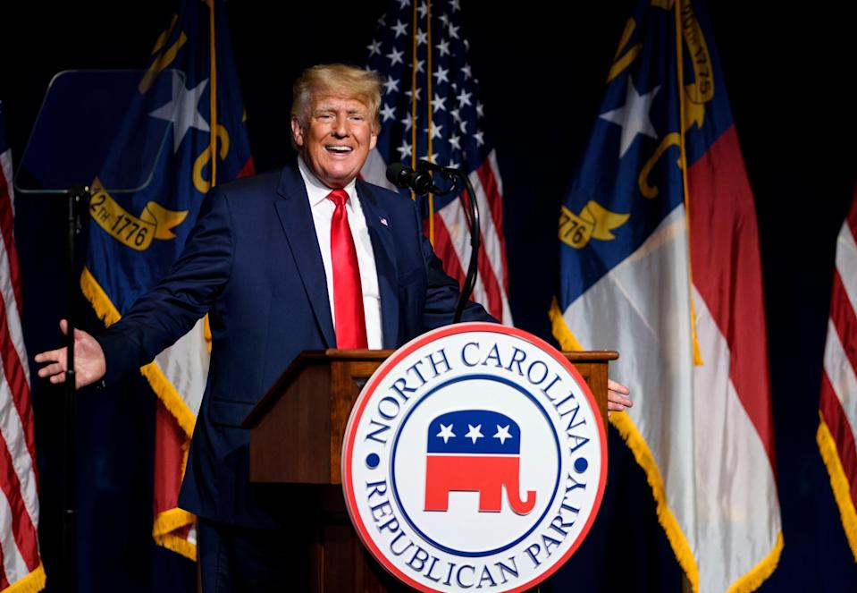 Former US President Donald Trump addresses the NCGOP state convention on June 5, 2021 in Greenville, North Carolina. The ex-president has claimed his endorsement 'means more' than anyone else's 'ever'. (Getty Images)