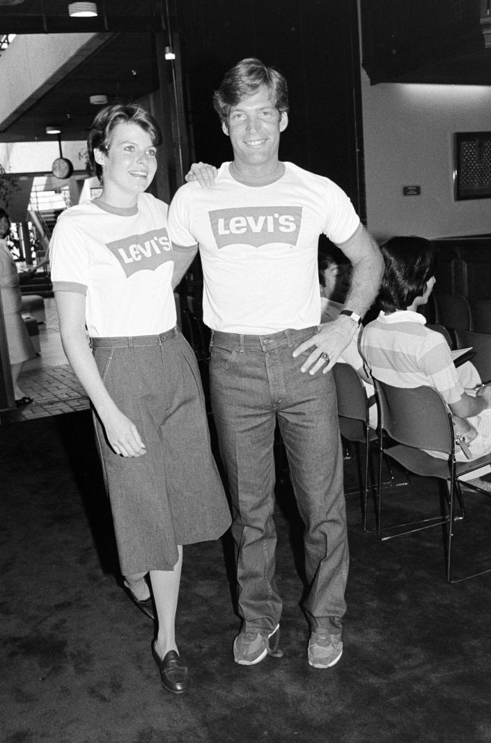 Models pose in Levi's logoed T-shirt and denim jeans during a promotional presentation for the 1984 Olympic teams uniforms at UCLA on Sept. 2, 1981. - Credit: DNR