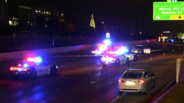 PHOTO: A Dallas police officer died after being struck by a suspected drunk driver near North Central Expressway at Walnut Hill Lane in Dallas, Texas, Feb. 13, 2021. (WFAA)