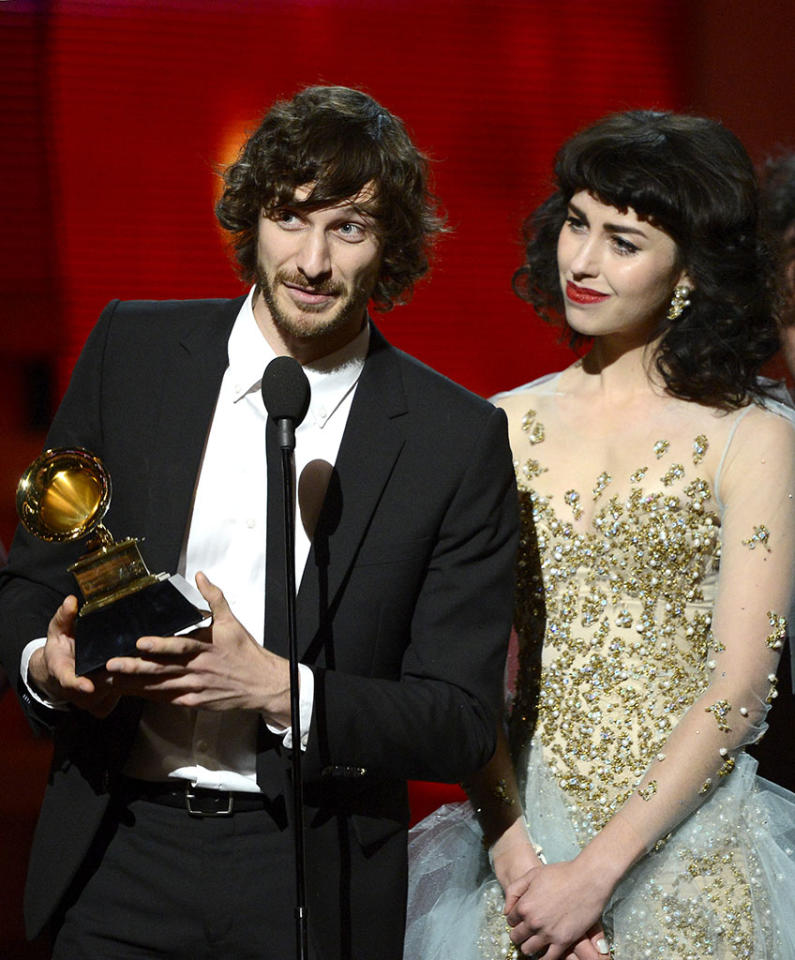 "Gotye and Kimbra accept Record of the Year award for ""Somebody That I Used to Know"" at the 55th Annual Grammy Awards at the Staples Center in Los Angeles, CA on February 10, 2013."