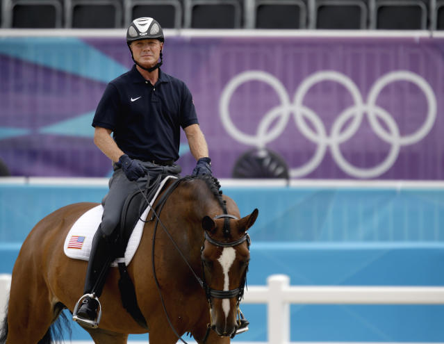 Jan Ebeling of the United States, rides his horse Rafalca during a training session for the equestrian dressage competition at the 2012 Summer Olympics, Wednesday, Aug. 1, 2012, in London. Rafalca is co-owned by Ann Romney, the wife of U.S. Republican presidential candidate Mitt Romney. (AP Photo/David Goldman)