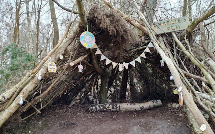 'Charlie's Den' in Guilford, Surrey which has been built and decorated for the enjoyment of children but has now been pulled apart by council workers - SWNS