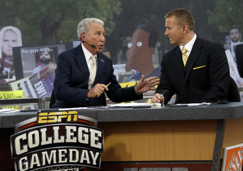 "Eleven months from now, ESPN's ""College GameDay"" is headed overseas. (AP Photo/Rogelio V. Solis)"