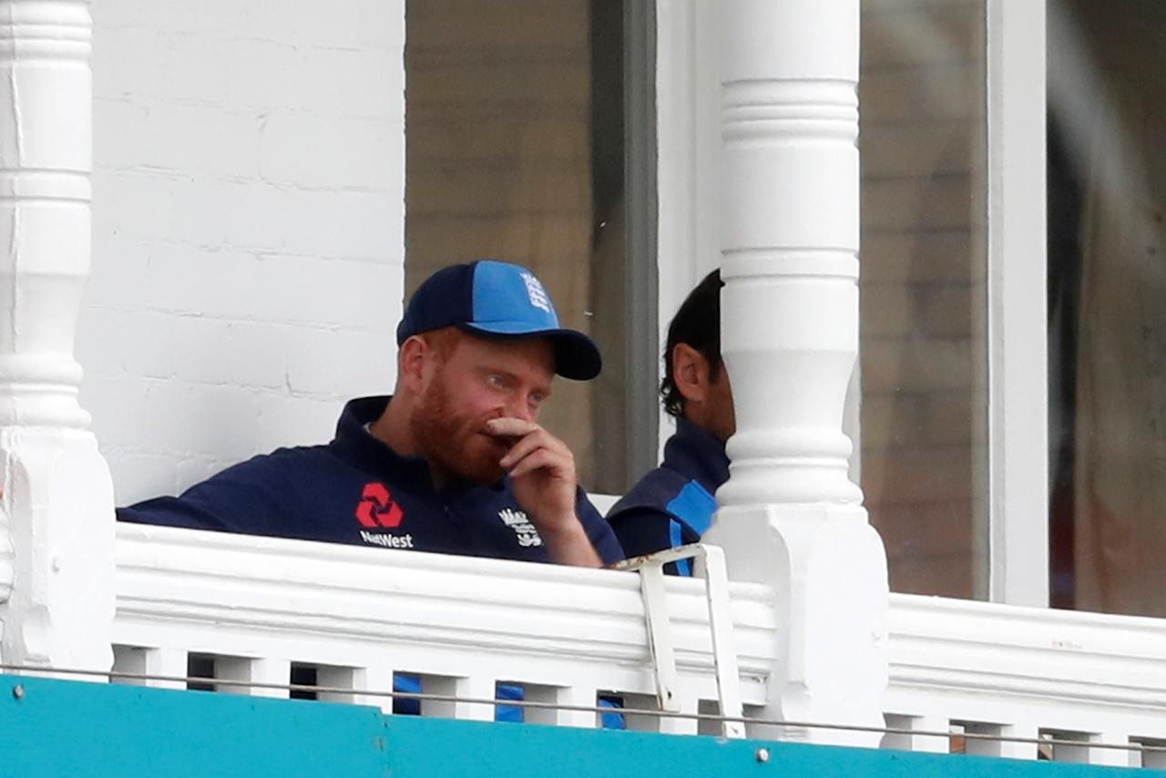 Cricket - England v India - Third Test - Trent Bridge, Nottingham, Britain - August 20, 2018   England's Jonny Bairstow watches on from the balcony after sustaining an injury    Action Images via Reuters/Paul Childs
