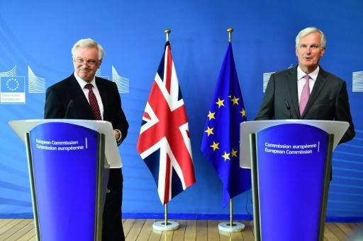 """The EU's chief Brexit negotiator Michel Barnier (right), with his British counterpart David Davis, says there was no """"decisive progress"""" in the latest round of talks (Picture: AFP)"""
