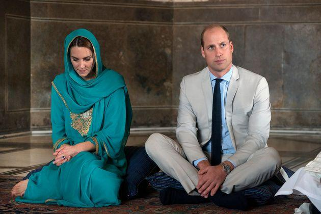 The Duke and Duchess of Cambridge during a visit to Badshahi Mosque, Lahore, on the fourth day of the royal visit to Pakistan. The trip cost£117,116