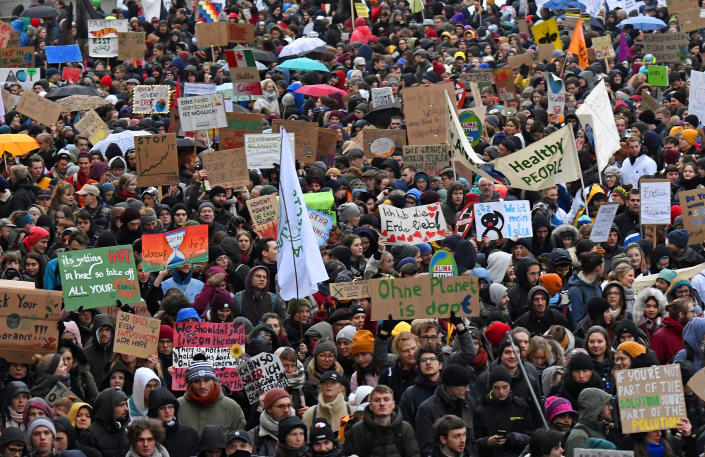 Thousands of demonstrators attend a protest climate strike ralley of the 'Friday For Future Movement' in Leipzig, Germany, Friday, Nov. 29, 2019.   Jens Meyer—AP