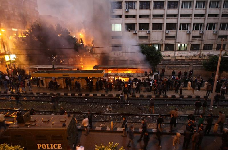 Buses were set ablaze during 2012 clashes between opponents and supporters of the Muslim Brotherhood in the Mediterranean coastal city of Alexandria (AFP Photo/Mahmud Hams)