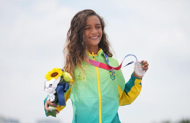 Rayssa Leal of Brazil at Monday's awards ceremony at the Tokyo Olympics. The 13-year-old earned a silver medal in the women's street skateboarding event. (Photo: Xinhua News Agency via Getty Images)