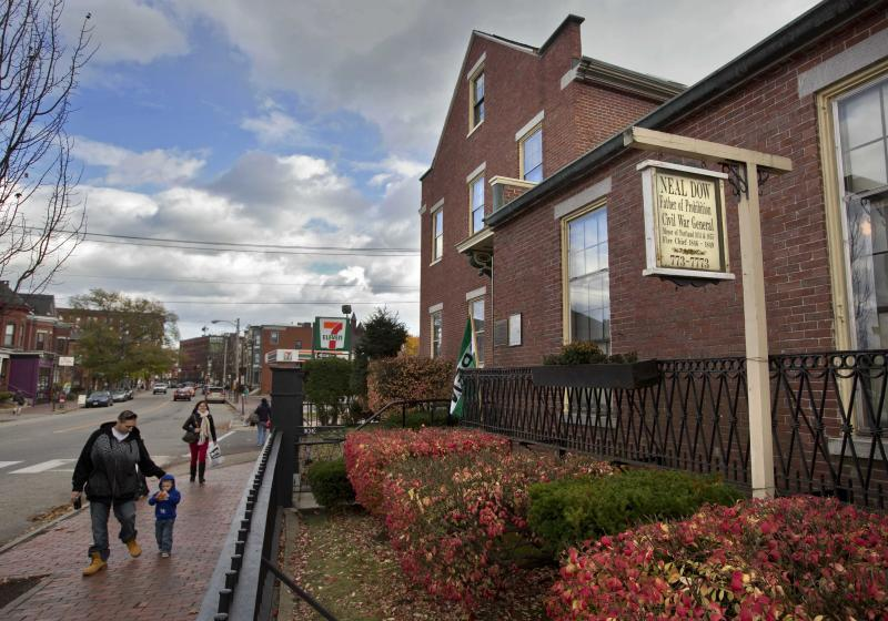 This photo made Nov. 8, 2013 shows the the Neal Dow House in Portland, Maine. Neal Dow, a Union general, entrepreneur and teetotalling crusader, led the push as Maine became the first state to adopt a prohibition law. (AP Photo/Robert F. Bukaty)