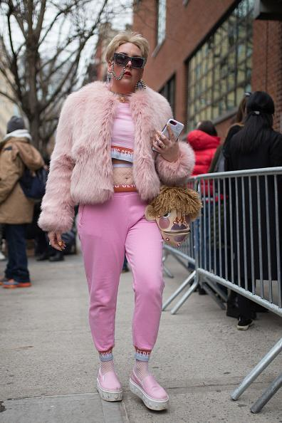 A rare shot of a NYFW attendee who doesn't perfectly fit the thinfluencer mold, headed to the Chromat show, which is reliably inclusive in its casting. (Photo: Matthew Sperzel/Getty Images)