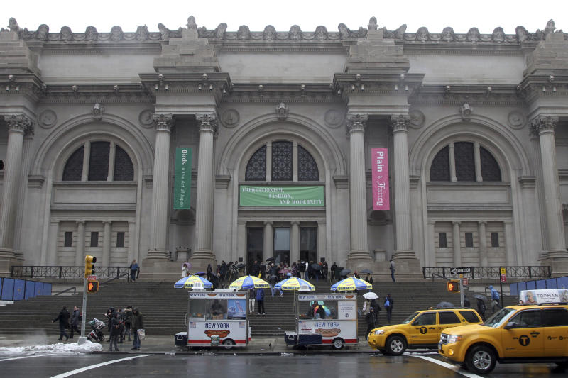 In this Tuesday, March 19, 2013 photo the exterior of the Metropolitan Museum of Art in New York is photographed. (AP Photo/Mary Altaffer)
