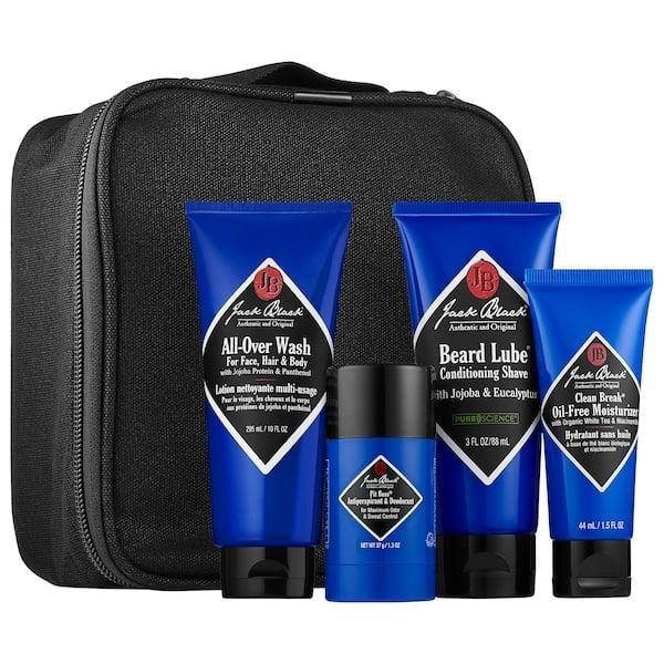 <p><span>Jack Black Grab and Go Traveler</span> ($45) could easily be called the grab-and-stay instead. It's got a full skin-care routine inside including a multipurpose wash for face, hair, and body, and even deodorant, too. Of course, this set will also work well once it's safe to grab it and go . . . or maybe you should stock up on more than one for them now?</p>