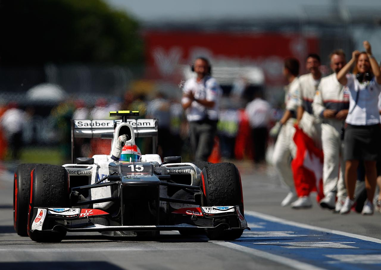 MONTREAL, CANADA - JUNE 10:  Sergio Perez of Mexico and Sauber celebrates after finishing third during the Canadian Formula One Grand Prix at the Circuit Gilles Villeneuve on June 10, 2012 in Montreal, Canada.  (Photo by Vladimir Rys/Getty Images)