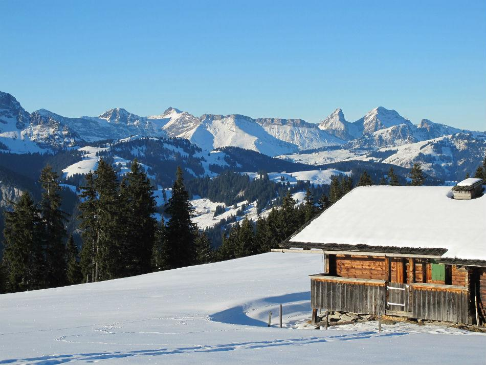 Gstaad is home to one of the largest ski areas in the Alps. Winter in the Bernese Oberland.