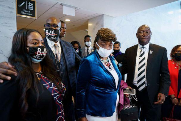 PHOTO: Keeta Floyd, Philonise Floyd, Gwen Carr and civil rights attorney Ben Crump talk to reporters following a meeting with Sen. Tim Scott, who is working on a police reform bill in the Senate, at the Capitol in Washington, April 29, 2021. (J. Scott Applewhite/AP)