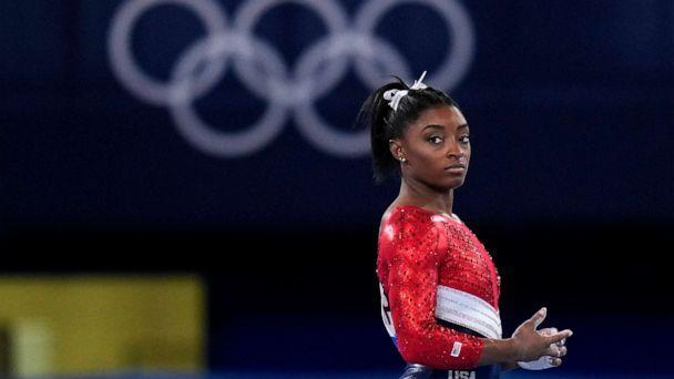 PHOTO: File-This July 27, 2021, file photo shows Simone Biles, of the United States, waiting to perform on the vault during the artistic gymnastics women's final at the 2020 Summer Olympics, Tuesday, July 27, 2021, in Tokyo. (Gregory Bull/AP)