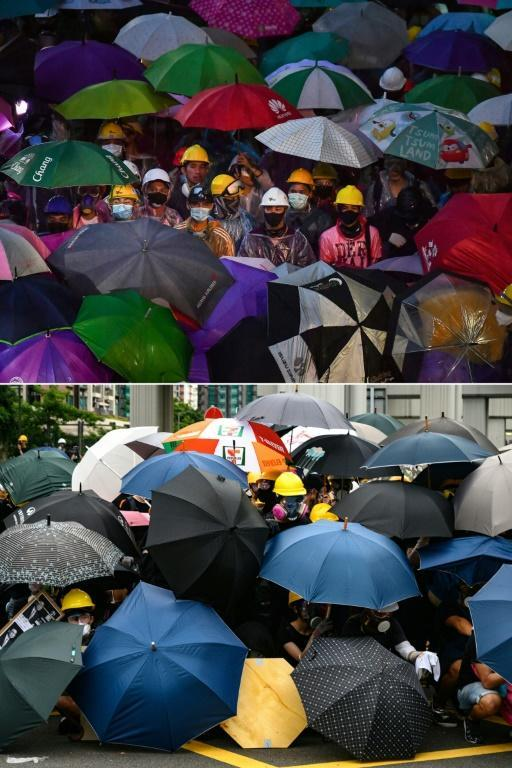 Protesters wearing helmets and holding umbrellas during an rally in Bangkok on October 18, 2020, and (bottom) protesters in Hong Kong on July 27, 2019