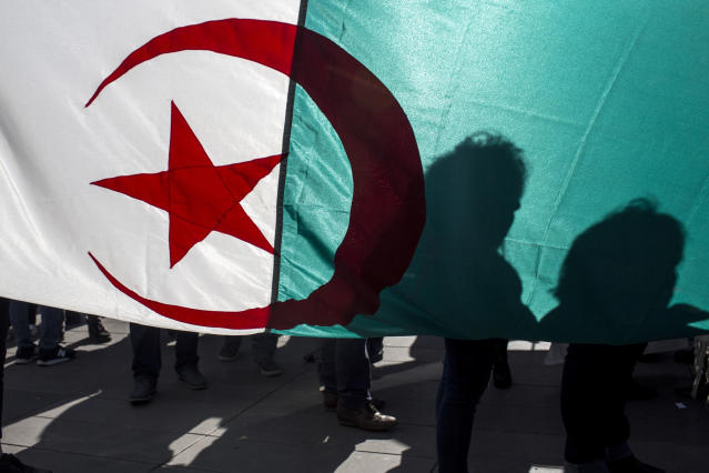 Demonstrators are silhouetted against a national Algerian flag as they stage a protest on the Republique Plaza to press for an end to the 20-year-rule of Algerian President Abdelaziz Bouteflika, in Paris, France, Sunday, March 17, 2019. (AP Photo/Rafael Yaghobzadeh)