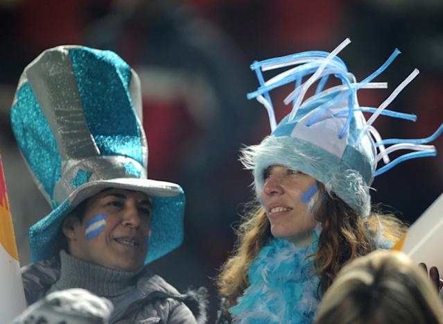 Supporters of Argentina are seen before the start of the 2011 Copa America Group A first round football match against Colombia, at the Cementerio de Elefantes stadium in Santa Fe, 476 Km north of Buenos Aires, on July 6, 2011. AFP PHOTO / ANTONIO SCORZA (Photo credit should read ANTONIO SCORZA/AFP/Getty Images)