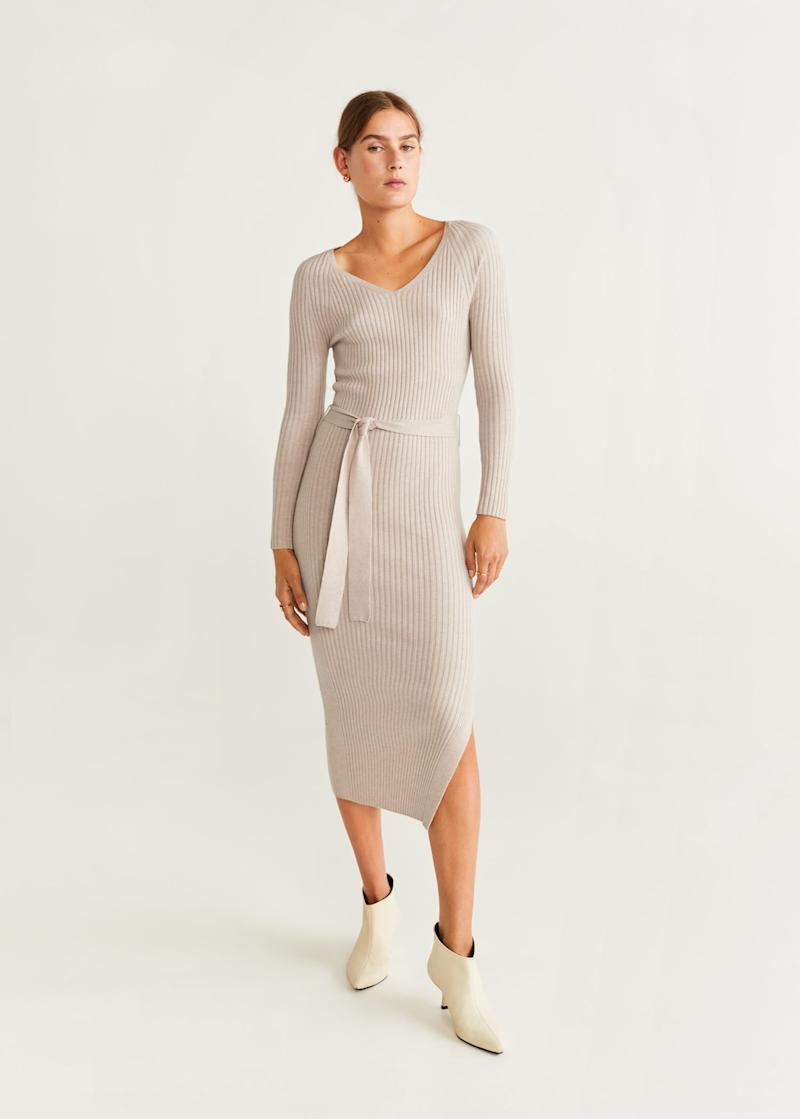 Belt ribbed dress. Image via Mango.