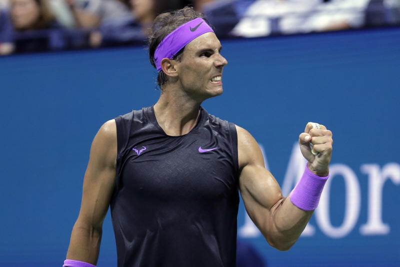 Rafael Nadal reacts after winning the first set against Diego Schwartzman during the quarterfinals of the US Open on Wednesday.