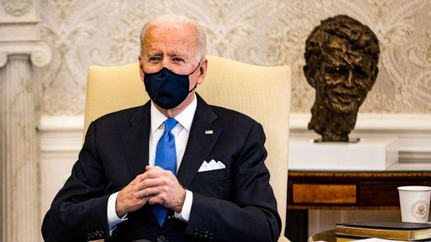 PHOTO: President Joe Biden holds a meeting on cancer with Vice President Kamala Harris and other lawmakers in the Oval Office at the White House on March 3, 2021. (Samuel Corum/Getty Images)