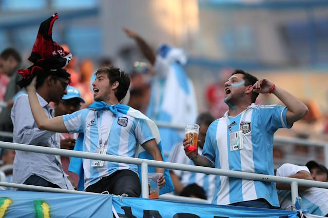 Soccer Football - World Cup - Group D - Argentina vs Croatia - Nizhny Novgorod Stadium, Nizhny Novgorod, Russia - June 21, 2018 Argentina fans inside the stadium before the match REUTERS/Ivan Alvarado