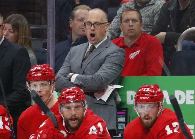 Detroit Red Wings coach Jeff Blashill watches the first period of the team's NHL hockey game against the Toronto Maple Leafs, Thursday, Oct. 11, 2018, in Detroit. (AP Photo/Paul Sancya)