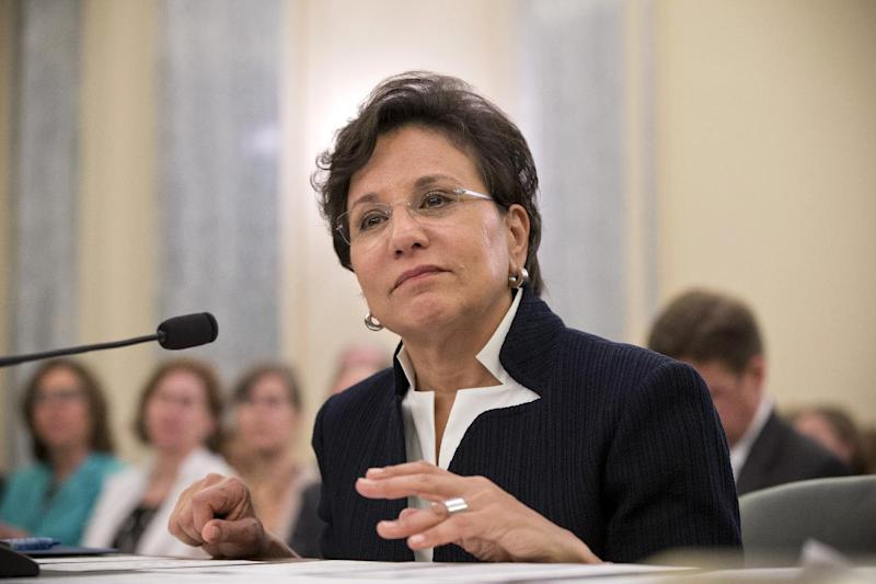 Chicago billionaire business executive Penny Pritzker, President Obama's pick for Commerce Secretary, testifies on Capitol Hill in Washington, Thursday, May 23, 2013, before the Senate Commerce Committee hearing on her nomination. A longtime Obama friend who raised hundreds of thousands of dollars for both of his presidential campaigns, Pritzker is facing scrutiny at a Senate confirmation hearing for her ties to a subprime mortgage lender that failed in 2001. (AP Photo/J. Scott Applewhite)