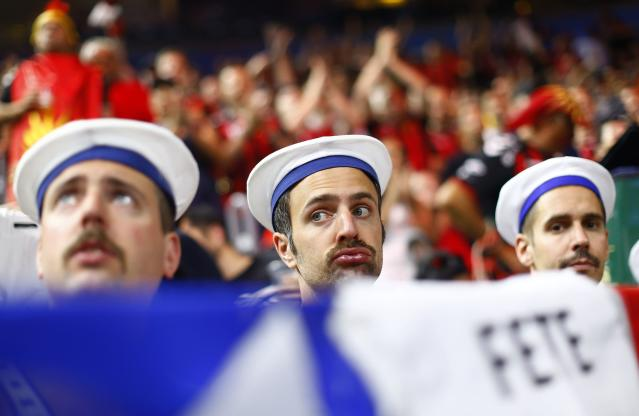 Handball - Men's EHF Champions League Final - HBC Nantes vs Montpellier HB - Lanxess Arena, Cologne, Germany - May 27, 2018. Supporters of Montpellier HB before the game. REUTERS/Thilo Schmuelgen