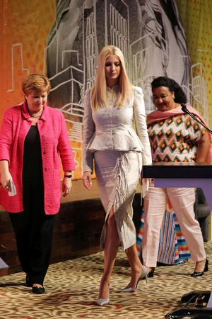 White House Advisor Ivanka Trump walks during the first Women Entrepreneurs Finance Initiative (We-Fi) at the Sofitel hotel Ivoire in Abidjan, Ivory Coast April 17, 2019. REUTERS/Thierry Gouegnon