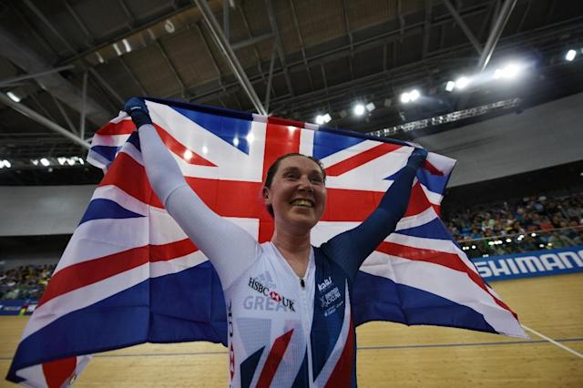 Britain's Katie Archibald celebrates winning the women's omnium points race 4/4 at the Hong Kong Velodrome during the Track Cycling World Championships in Hong Kong on April 14, 2017 (AFP Photo/Anthony WALLACE)