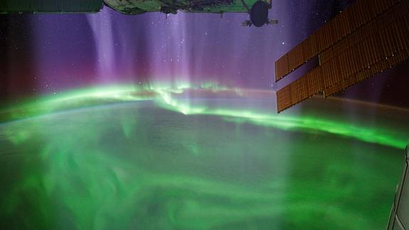 "This amazing view of Earth's auroras seen from the International Space Station is featured in the new PBS NOVA documentary ""Earth from Space"" airing on Feb. 13, 2013."