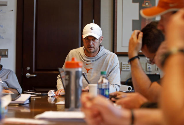 Texas Longhorns head coach Tom Herman talks with other coaches during a meeting Wednesday Sept. 4, 2019 in Austin, Tx. ( Photo by Edward A. Ornelas )