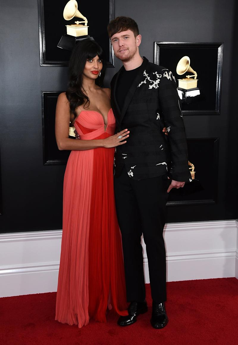 Jameela Jamil and James Blake arrive at the 61st annual Grammy Awards at the Staples Center on Sunday, Feb. 10, 2019, in Los Angeles. (Jordan Strauss/Invision/AP)