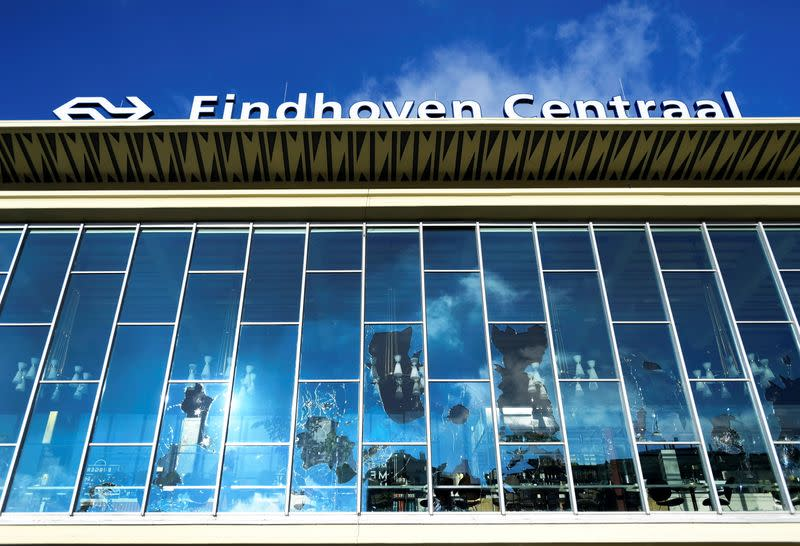 View of damage after clashes against COVID-19 lockdown in Eindhoven