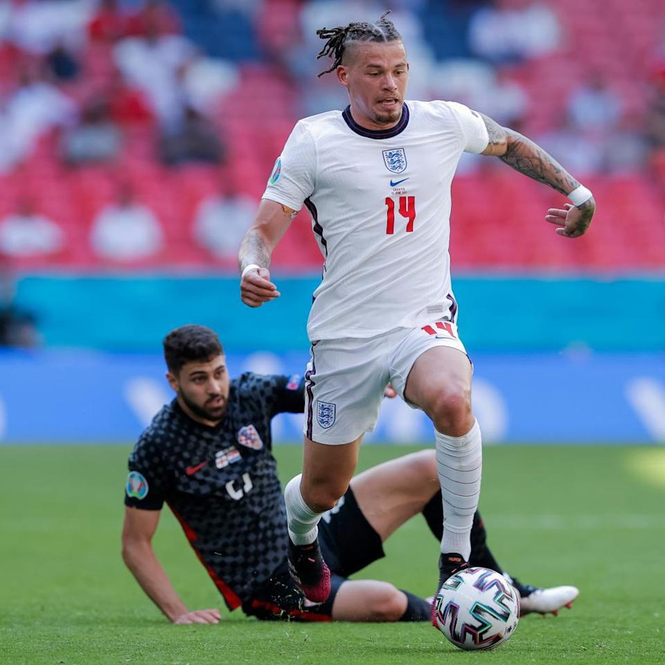 England's Kalvin Phillips beats Croatia's Josko Gvardiol before laying on the pass to Raheem Sterling to score England's goal