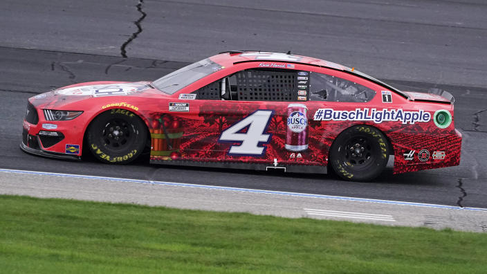 Kevin Harvick competes at a NASCAR Cup Series auto race, Sunday, July 18, 2021, in Loudon, N.H. (AP Photo/Charles Krupa)