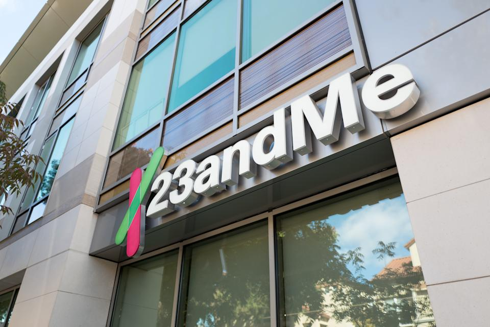 Low-angle view of logo on facade of personal genomics company 23AndMe in the Silicon Valley town of Mountain View, California, October 28, 2018. (Photo by Smith Collection/Gado/Getty Images)